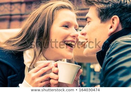 gülen · seven · çift · oturma · kafe - stok fotoğraf © unkreatives