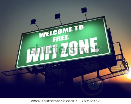 Wolna wifi billboard Świt widziane zielone Zdjęcia stock © tashatuvango
