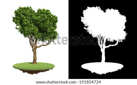 Green Tree on Grass with Detail Raster Mask. Stock photo © tashatuvango