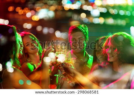 group of beautiful women clinking glasses with champgagne inside stock photo © nejron