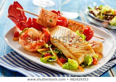 Mixte fruits de mer plaque différent fraîches pain Photo stock © franky242