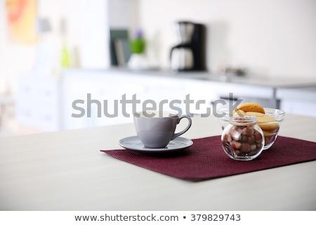 Konyha teáscsésze mosdókagyló házimunka kék üveg Stock fotó © racoolstudio