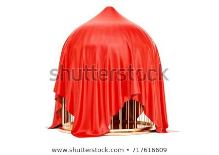 3dのレンダリング 赤 布 銀 ケージ 自由 ストックフォト © montego