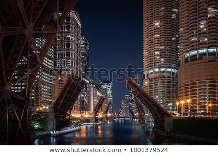 Chicago şehir merkezinde Cityscape gün batımı gökyüzü su Stok fotoğraf © AndreyKr