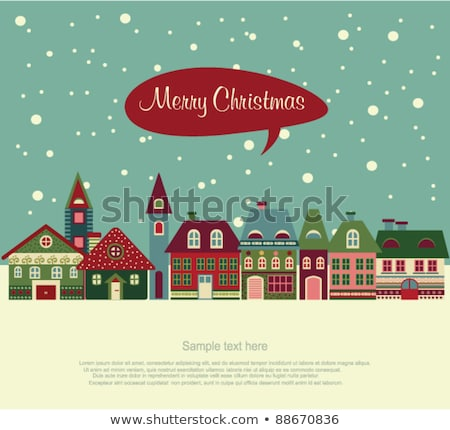retro christmas card with window and snowflakes stock photo © orson