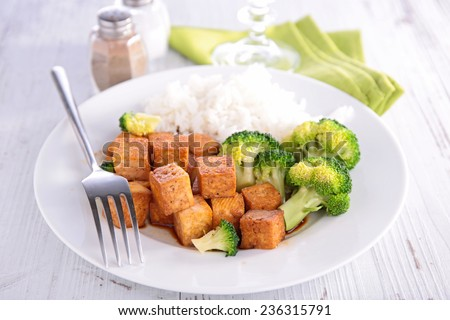 Stock photo: tofu,rice and broccolis