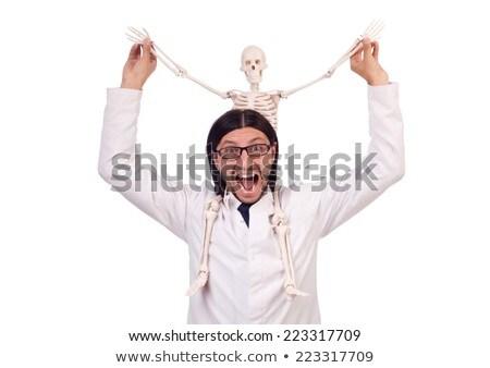 Komik öğretmen iskelet yalıtılmış beyaz adam Stok fotoğraf © Elnur