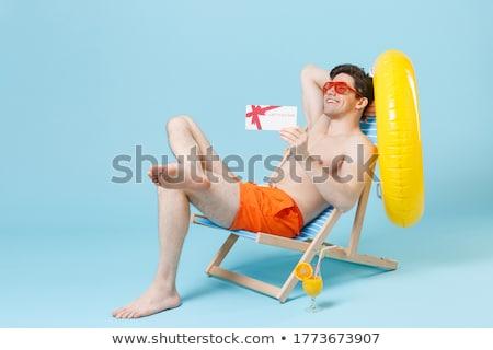Foto stock: Moço · branco · cartão · praia · céu