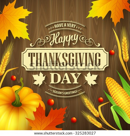 thanksgiving day card with pumpkin eps 10 stock photo © beholdereye