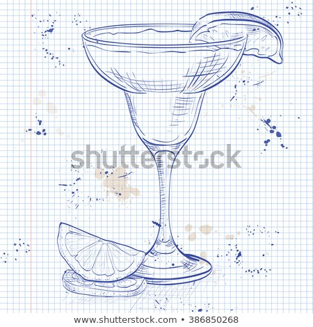 Yellow Bird cocktail on a notebook page Stock photo © netkov1