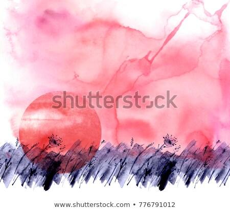 lila · nap · felhők · örvény · horizont · absztrakt - stock fotó © frankljr