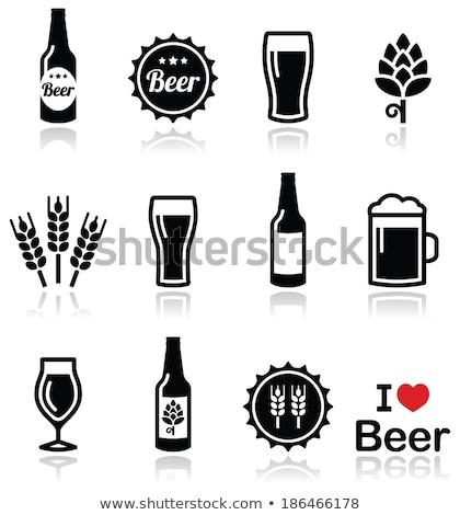 bier · iconen · cirkel · glas · teken · fles - stockfoto © bluering