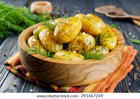 baked new potato with herbs style rustic stock photo © zoryanchik