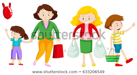 5af145591 Stock photo: Mother and kid go shopping Stock photo / Stock vector  illustration: Mother and kid go shopping illustration