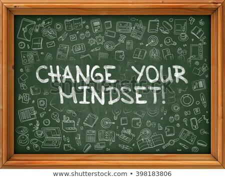 Green Chalkboard with Hand Drawn Change Your Mindset. Stock photo © tashatuvango