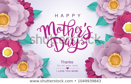 happy mothers day greeting card design with flower and thank you mom typographic elements on pink ba stock photo © articular