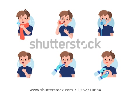child using inhaler for asthma. White background Stock photo © Lopolo