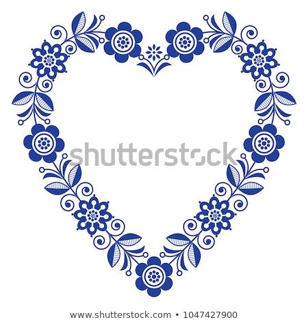 Scandinavian folk heart vector design, Valentine's Day, birthday or wedding greeting card, floral pa Stock photo © RedKoala