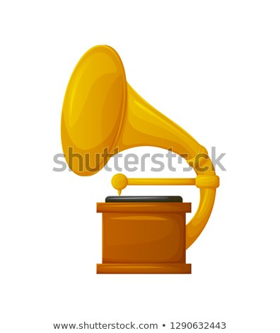 Foto stock: Gramophone with Vinyl Recorder Gold Award Icon