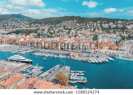 Nice city coastline from top view Stock photo © frimufilms