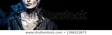 Cropped image part of woman face with creative chessmen make-up  Stock photo © amok