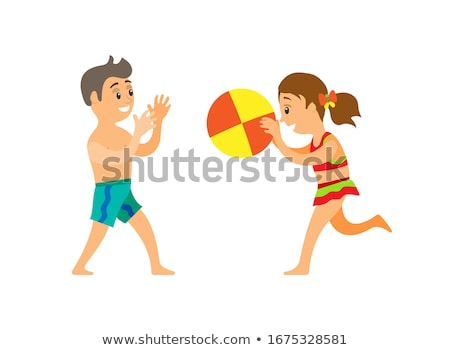 Kids in trunks playing ball, summertime holidays Stock photo © robuart