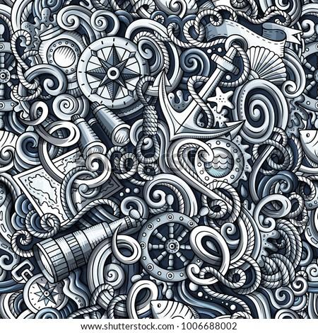Stock fotó: Rajz · tengerészeti · firkák · végtelen · minta · aranyos · kézzel · rajzolt