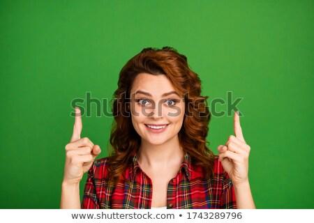 Közelkép boldog fiatal nő arc shamrock Szent Patrik napja Stock fotó © dolgachov