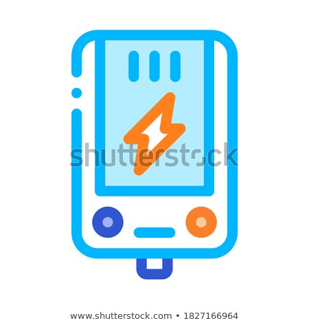Elektronische hoofd- verwarming vector icon dun Stockfoto © pikepicture