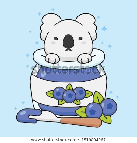 Cute koala bear in a blueberry jam jar Stock photo © amaomam