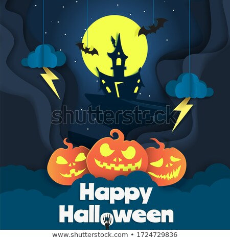 modern happy halloween haunted house with flying bats background Stock photo © SArts