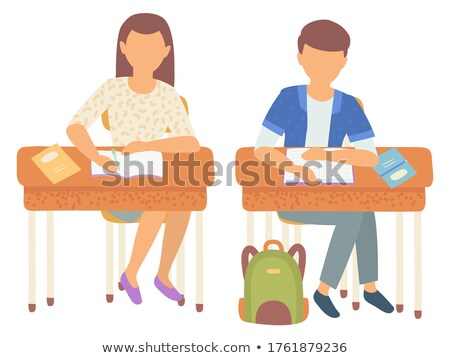 School Desk with Satchel Bag and Supplies Vector Stock photo © robuart