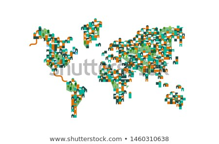 Population world map of houses and green tree parks Stock photo © cienpies