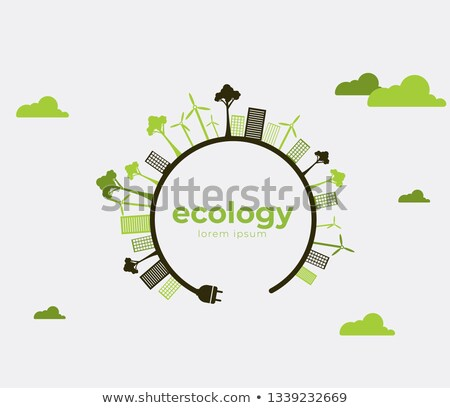 Environment Day card of eco friendly city in tree Stock photo © cienpies
