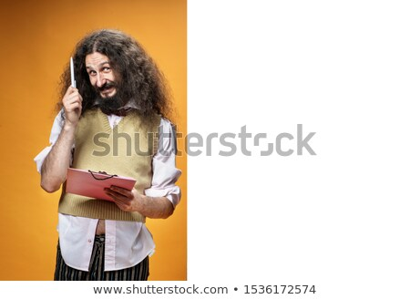Funny nerd posing next to the empty, commercial board Stock photo © majdansky