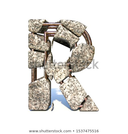Concrete fracture font Letter R 3D Stock photo © djmilic
