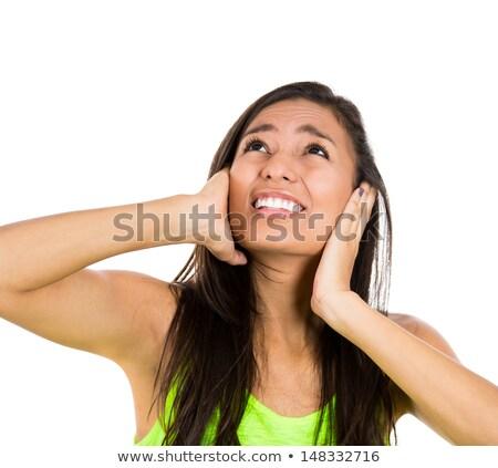 Bosszús tinilány fülek kezek érzelem stressz Stock fotó © dolgachov