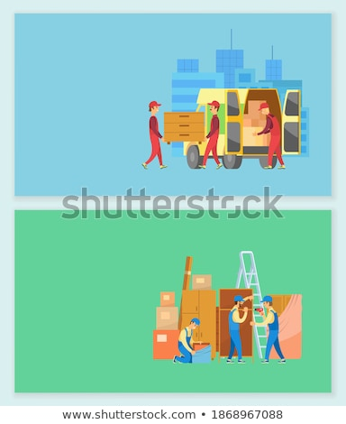 Furniture Delivery People with Drawers in Van Stock photo © robuart
