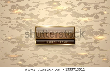 Stock photo: Premium brown label with golden frame on metallic gold geometric background golden lines. Vip luxury