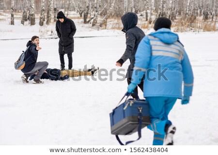 若い男 病気 人 雪 ストックフォト © pressmaster