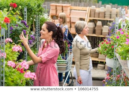 Mulher compras flores jardim centro variação Foto stock © dashapetrenko