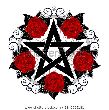 Pentagram with red roses Stock photo © blackmoon979
