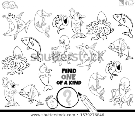one of a kind game with marine animals color book page Stock photo © izakowski
