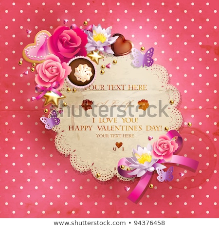 Birthday Cake Decorated With Bow Retro Vector Stock photo © pikepicture