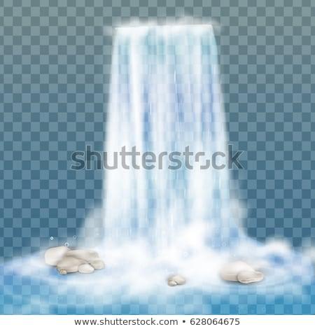 Scène waterval illustratie gras wereldbol natuur Stockfoto © bluering