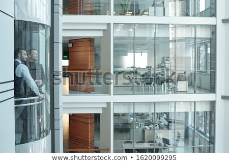 Two businessmen moving in elevator inside large contemporary business center Stock photo © pressmaster