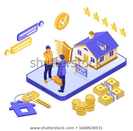 Ligne vente hypothèque assurance maison isométrique Photo stock © -TAlex-