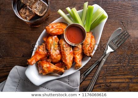 ボウル バッファローウィング 木製 食品 オレンジ 鶏 ストックフォト © Alex9500