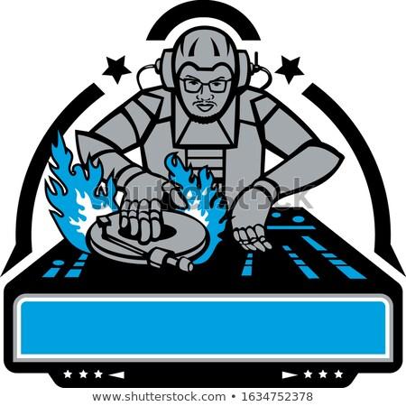 Futurisztikus dídzsé lemezjátszó kabala ikon illusztráció Stock fotó © patrimonio