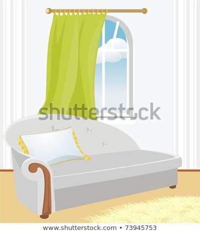 гостиной диван подушка окна вектора интерьер Сток-фото © robuart